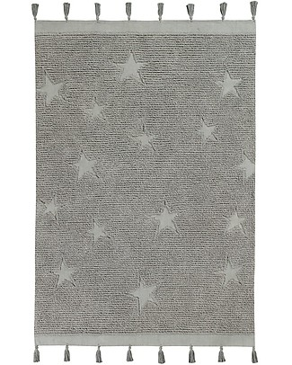 Lorena Canals Washable Rug Hippy Stars, Grey - 100% Cotton (120 x 175 cm) Carpets
