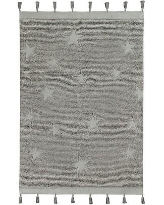 Lorena Canals Washable Rug Hippy Stars, Grey - 100% Cotton (120 x 175 cm) Carpets
