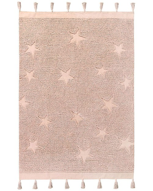Lorena Canals Washable Rug Hippy Stars, Vintage Nude - 100% Cotton (120 x 175 cm) Carpets