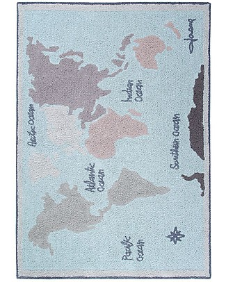 Lorena Canals Washable Rug Vintage Map, Back to school - 100% Cotton (140 x 200 cm) null