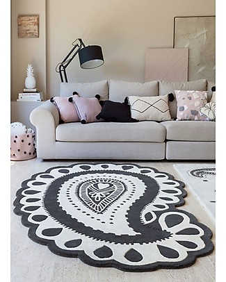 Lorena Canals Wool Rug Gita, Black & White - 145 x 208 cm Carpets