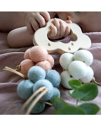Loullou Baby Cloud, Hanging Toy, Blue Cloud - Lambswool Baby Gym