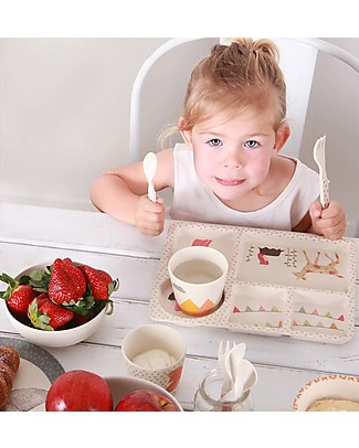 Love Mae 5-pieces Bamboo Dinner Set, Woodland Tea Party – Durable and ecological! Perfect gift idea! Bowls & Plates