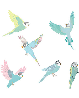 Love Mae Fabric Wall Stickers, Budgies - Repositionable and Biodegradable! Wall Stickers