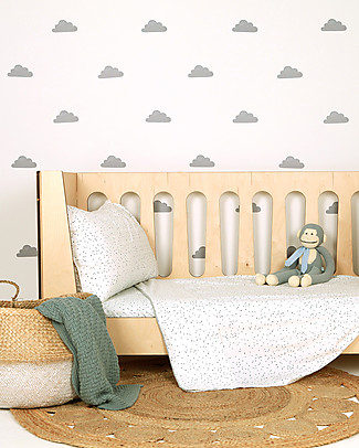 Love Mae Fabric Wall Stickers, Grey Clouds - Repositionable and Biodegradable! Wall Stickers
