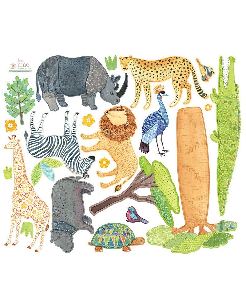 Love Mae Fabric Wall Stickers, Safari - Repositionable and ...