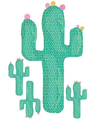 Love Mae Mini Fabric Stickers, Cactus - Repositionable! Great gift idea for adults too! Wall Stickers