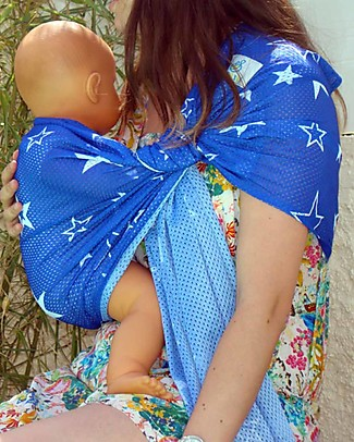 Lucky Baby Lightweight Baby Sling - SUKKIRi - Ideal for Summer - Blue with White Star Baby Slings