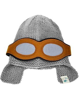 Lullaby Road Aviator Hat with Detachable Goggles, Grey – Fleece-lined merino wool Hats