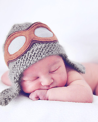 Lullaby Road Aviator Hat with Detachable Goggles, Grey – Fleece-lined merino wool Hats
