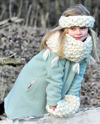Lullaby Road Eskimo Col Scarf, Natural - Fleece-lined Merino Wool Gloves e Mittens