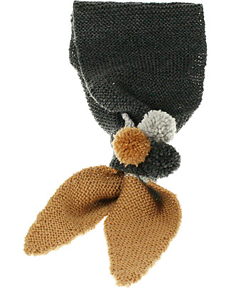 Lullaby Road Girl Scarf with Pointy Tips and Pom Pom, Charcoal/Grey/Caramel (2-6 years) - Merino wool Scarves And Shawls