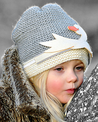 Lullaby Road Girl Winter Beanie with Detachable Swan, Grey (2-4 and 4-6 years) - Fleece-lined merino Wool Hats