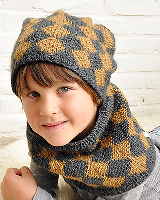 Lullaby Road Lumberjack Col Scarf, Charcoal and Caramel (2-6 years) - Fleece-lined merino wool Gloves e Mittens
