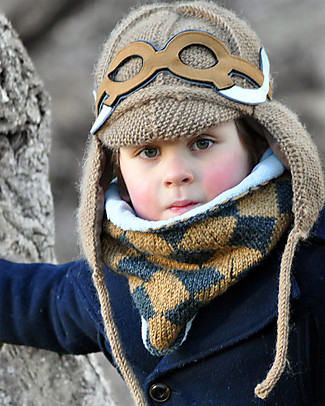 Lullaby Road  Mammoth Winter Hat with Detachable Googles, Caramel (2-4 and 4-6 years) - Fleece-lined merino wool Hats