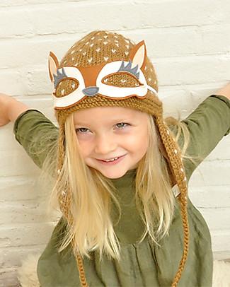 Lullaby Road Reindeer Winter Hat with Detachable Googles, Caramel (2-4 years) - Fleece-lined Merino wool Hats