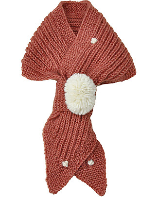 Lullaby Road Snowflake Pointed Scarf with PomPom, Taupe Pink (0-2 years) - Merino wool Gloves e Mittens
