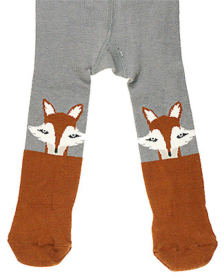 Lullaby Road Tights Fox in Stretch Cotton - Grey/Brown - Super soft and warm! Tights