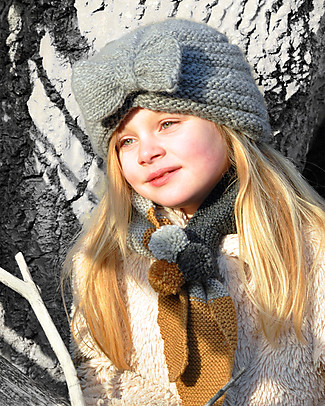 Lullaby Road Turban Hat with Ribbon, Grey (2-4 and 4-6 years) - Fleece-lined merino wool Hats