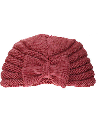 Lullaby Road Turban Hat with Ribbon, Taupe Pink (2-4 and 4-6 years) - Fleece-lined merino wool Hats