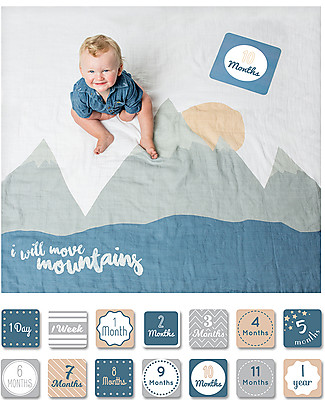 Lulujo Baby Baby's First Year Blanket + Cards Set, I Will Move Mountains - For the social baby and parents! Swaddles