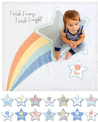 Lulujo Baby Baby's First Year Blanket + Cards Set, I Wish I May - For the social baby and parents! Swaddles