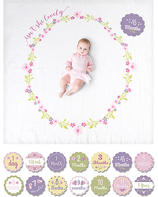 Lulujo Baby Baby's First Year Blanket + Cards Set, Isn't She Lovely - For the social baby and parents! Swaddles