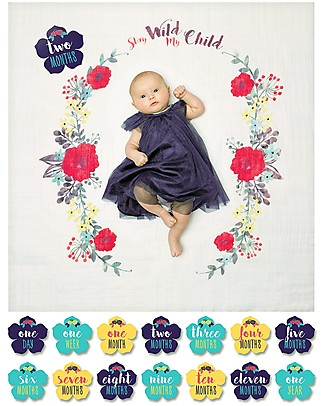 Lulujo Baby Baby's First Year Blanket + Cards Set, Stay Wild My Child - For the social baby and parents! Baby's First Albums
