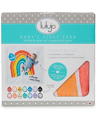 Lulujo Baby Baby's First Year Swaddle + Cards Set, A Dream Come True - For the social baby and parents! Baby's First Albums