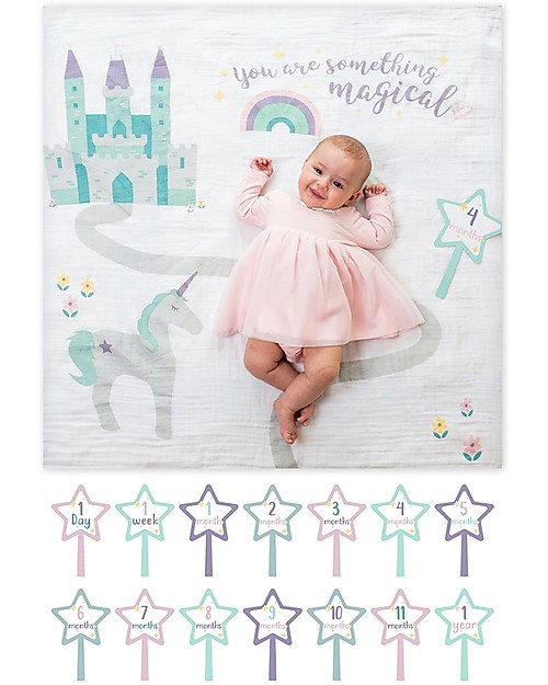 Lulujo Baby Baby's First Year Swaddle + Cards Set, Something Special - For the social baby and parents! Baby's First Albums