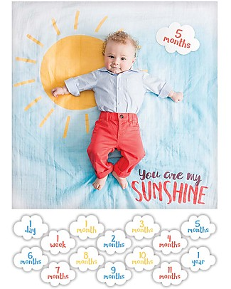 Lulujo Baby Baby's First Year Swaddle + Cards Set, You Are my Sunshine - For the social baby and parents! Swaddles