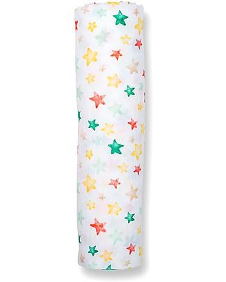 Lulujo Baby Copertina Swaddle 120 x 120 cm, Bright Stars - 100% mussola di cotone  Swaddles