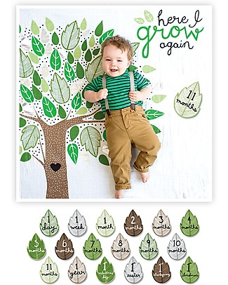 Lulujo Baby Deluxe Baby's First Year Swaddle + 18 Cards Set, Here I Grow Again - For the social baby and parents! Swaddles