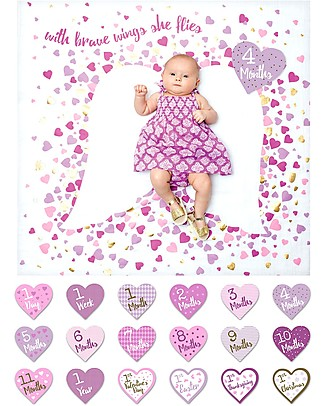 Lulujo Baby Deluxe Baby's First Year Swaddle + 18 Cards Set, With Brave Wings She Flies - For the social baby and parents! Baby's First Albums