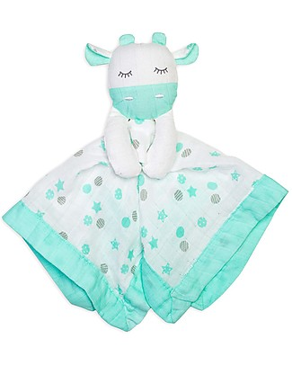 Lulujo Baby Doudou Comforter Lovie - Aqua Giraffe - 100% Cotton Muslin Blankets