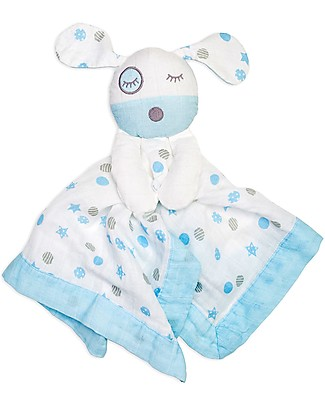 Lulujo Baby Doudou Comforter Lovie - Blue Puppy - 100% Cotton Muslin Blankets