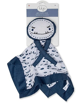Lulujo Baby Doudou Comforter Lovie - Blue Yeti - 100% Cotton Muslin  Blankets