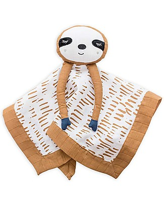 Lulujo Baby Doudou Comforter Lovie - Brown Sloth - 100% Cotton Muslin  Blankets
