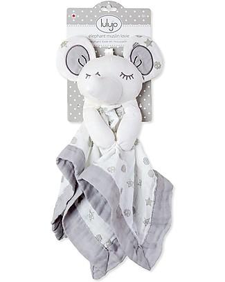 Lulujo Baby Doudou Comforter Lovie - Grey Elephant - 100% Cotton Muslin  Blankets