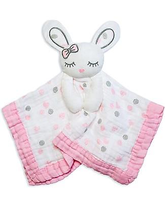 Lulujo Baby Doudou Comforter Lovie - Pink Bunny - 100% Cotton Muslin Blankets