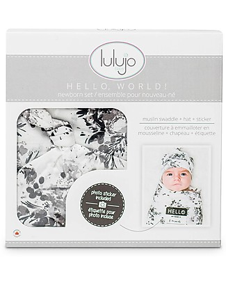 Lulujo Baby Hello World Kit, Hat + Swaddle, Black Floral, 120 x 120 cm - Bamboo Swaddles