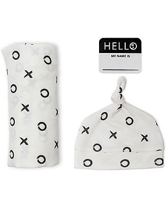 Lulujo Baby Hello World Kit, Hat + Swaddle, Hugs & Kisses, 120 x 120 cm - Bamboo Swaddles