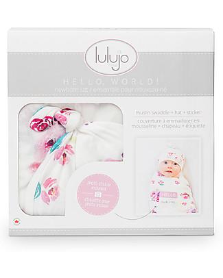 Lulujo Baby Hello World Kit, Hat + Swaddle, Rose, 120 x 120 cm - Bamboo Swaddles