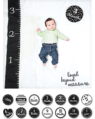 Lulujo Baby OUTLET - Baby's First Year Swaddle + Cards Set, Loved Beyond Measure - For the social baby and parents! Baby's First Albums