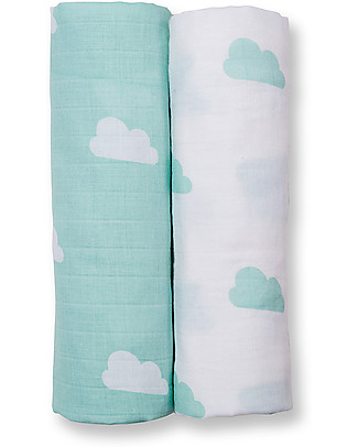Lulujo Baby Set of 2 Swaddles 100 x 100 cm, Aqua Clouds - 100% cotton muslin Swaddles