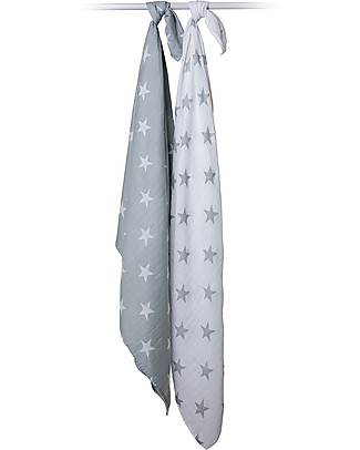 Lulujo Baby Set of 2 Swaddles 100 x 100 cm, Grey Stars - 100% cotton muslin Swaddles