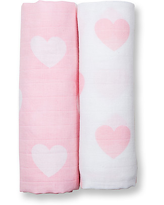 Lulujo Baby Set of 2 Swaddles 100 x 100 cm, Pink Hearts - 100% cotton muslin Swaddles