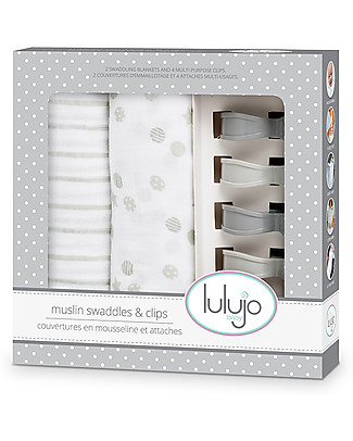 Lulujo Baby Set of 2 Swaddles 120 x 120 cm + 4 Clips, Grey - 100% cotton muslin Swaddles