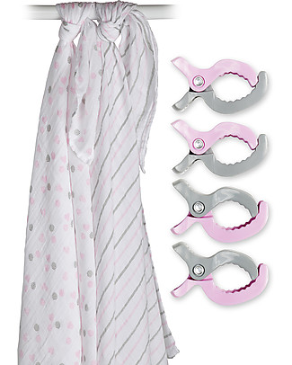 Lulujo Baby Set of 2 Swaddles 120 x 120 cm + 4 Clips, Pink - 100% cotton muslin Swaddles