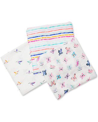Lulujo Baby Set of 3 Cloths 120 x 120 cm, Garden Friends - Bamboo muslin Swaddles